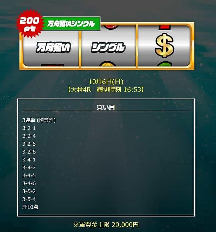 競艇BLUEOCEAN 2019年10月6日 万舟狙いシングル 的中実績