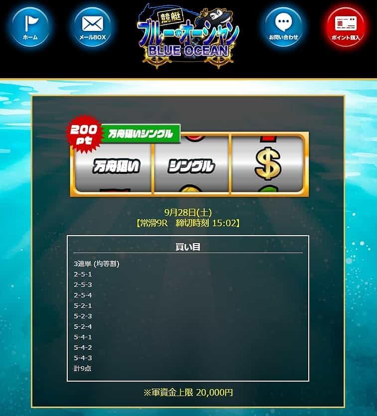 競艇BLUEOCEAN 2019年9月28日 万舟狙いシングル 的中実績